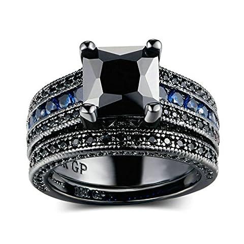 Noir et Bleu - AnaZoz Bague Femme Luxueur Noir Pierre Solitaire Éternité Bague Mariage 2 Anneaux Différents Types de Mariage Taille 49