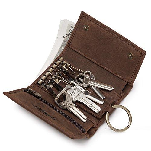 Característica:Material: cuero (Crazy-horse Leather)Color:MarrónTamaño:10.2cm*7.2cm *2.7cmEstructura:para 6 llaves, un bolsillo de cremallera para monedas,un compartimiento para dinero,un bolsillo abierto para recibos,un anillo.Descripción:Ideal para...