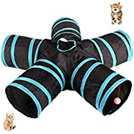 UniM Cat Tunnel, 5-Way Tunnel Collapsible Extensible Cat Tube Crinkle Pop Up Tunnel, Toy Maze House with Pompon and Bells for Cat Puppy Kitten Rabbit Guinea Pig