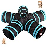MQUPIN Cat Tunnel, 5-Way Tunnel Collapsible Extensible Cat Tube Crinkle Pop Up Tunnel, Toy Maze House with Pompon and Bells for Cat Puppy Kitten Rabbit Guinea Pig