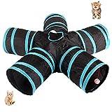 UniM Katzentunnel, 5-Wege Tunnel, zusammenklappbar, ausdehnbare Katzentube, Pop Up Tunnel, Spielzeug Labyrinth Haus mit Pompon und Glocken für Katzenwelpen Kätzchen Kaninchen Meerschweinchen