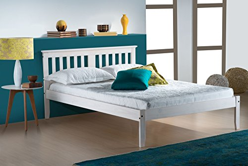Happy Beds Salvador Wooden Bed Washed White Finish Traditional Frame Bedroom 4' Small Double 120 x 190 cm