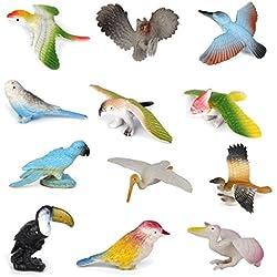Newin Star Juego 12pcs Artificial de Aves Animales Modelo Bird Modelo de plástico Figuras Niños Conjunto de Juguete simulación Modelos Animales