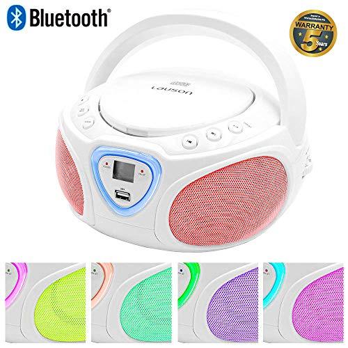 Lauson CP451 Boombox Tragbarer Bluetooth Radio CD USB MP3 Radio (am/fm) mit Beleuchtung LED-Effekt