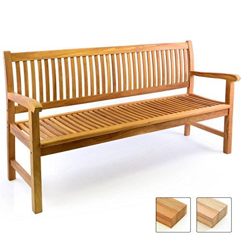 Rustikale Gartenmöbel (DIVERO 3-Sitzer Bank Holzbank Gartenbank Sitzbank 180 cm – zertifiziertes Teak-Holz behandelt hochwertig massiv – reine Handarbeit – wetterfest (Teak behandelt))