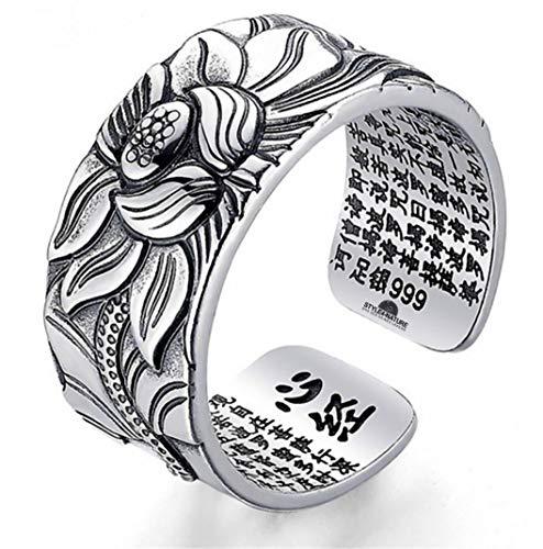 STYLE4-NATURE Ring mit Lotus-Motiv 999er massives Silber Buddhistischer Mantraring Glück & Selbstbewußtsein
