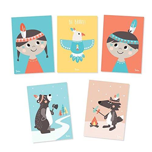 Julica Cartes Postales Kit pour indien Motif   enfants Lot de cartes...