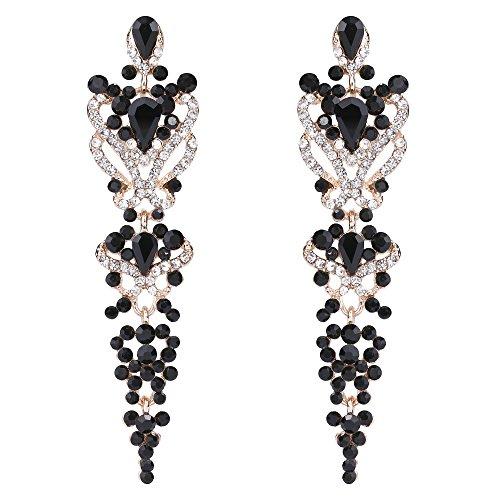TENYE Dame österreichisch Kristall Gastby Inspired Floral Dangle Ohrringe schwarz Gold-Ton