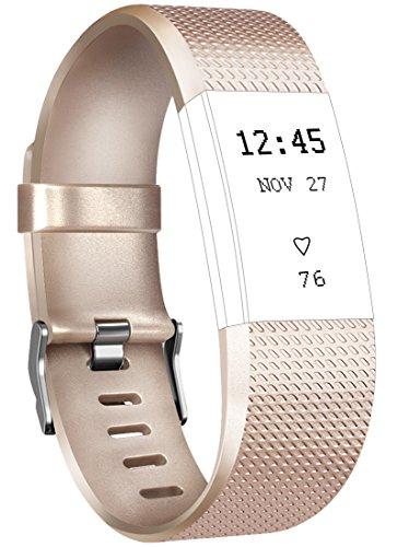 Tobfit Fitbit Charge 2 Armbänd Verstellbare Weiches Silikon Sport Ersatz Armband für Fitbit Charge 2 (Klassische und Special Edition) (Small, #A Gold) (Gold-armband Zoll 7)