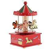Unbekannt MagiDeal Drehende Spieluhr Karussell Pferdekarussell Spieluhr Musik Box Weihnachten Geburtstag Geschenk - Rot