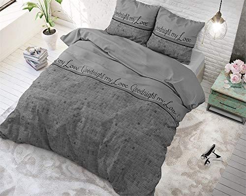 SleepTime Bettwäsche Baumwolle Gute Nacht Mein Liebling, 240cm x 220cm, Mit 2 Kissenbezüge 60cm x 70cm, Grau -