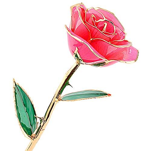 zjchao Love Forever 24k vergoldet Echt Rose, Geschenk der Liebe (rosa) Vergoldete Rose