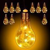 Relaxdays 10 x Deko Glühbirne LED zum Hängen, batteriebetriebene LED-Deko, kabellose Glühlampe mit Lichterkette, transparent
