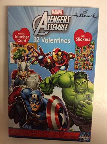 Marvel Avengers Assemble 32Valentines mit Aufkleber inkl. Lehrer Karte (Valentines Day Pack Von Karten)