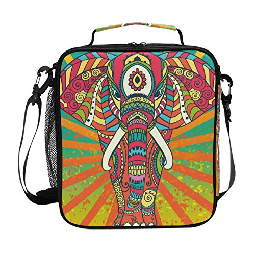 QMIN Lunchtasche Tribal Bohemian Elephant Animal Lunchbox mit Reißverschluss, isoliert, wiederverwendbar, Thermo-Tragetasche mit Schultergurt für Mädchen Jungen Damen Herren