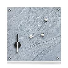 Zeller 11668 Slate Memo Board, Glass, Grey, 40 x 40 x 1 cm