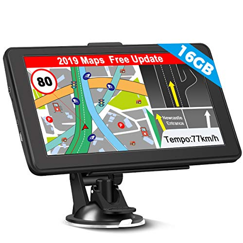 GPS Navi Navigation für Auto, 16G 256M 7 Zoll LKW PKW KFZ Navigationsgerät Lebenslang Kostenloses Kartenupdate Touchscreen POI Blitzerwarnung Sprachführung Fahrspurassistent EU UK 52 Karten