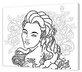 Pintcolor 7172.0Keilrahmen mit Leinwand Bedruckt Zum Ausmalen, Tannenholz/Baumwolle, Weiß/Schwarz, 50x 40x 3.5cm