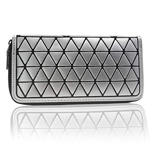 Damen Zipper Wallet, Geometrische Lattice PU Leder Clutch Geldbörse, Lange Geldscheinklammer Armband für Frauen (Silber)