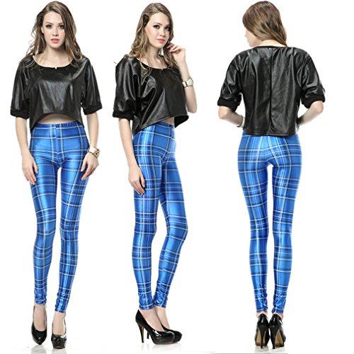 Thenice - Legging - Slim - Femme Taille unique (petite taille) Blaue Quadrate