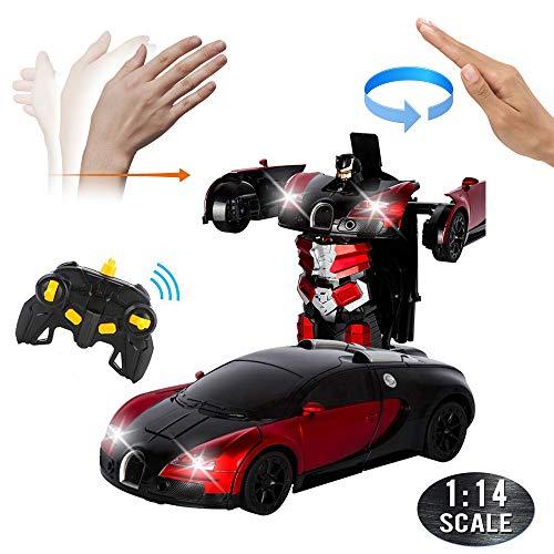 Womdee RC Auto Transformator Robot, 1:14 Ferngesteuertes Auto und Roboter, Rennwagen, Geste und Fernbedienung, Deformation Auto, Transformers Roboter, RC Auto Spielzeug für Kinder Geschenk Red Bugatti