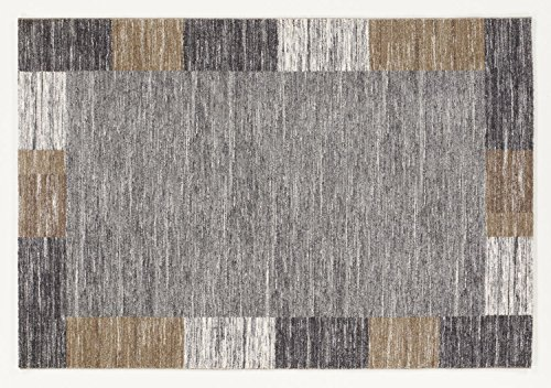 Seiden-schimmer-glanz (FLUFFY BORDER moderner Designer Teppich in grau, Größe: 120x170 cm)