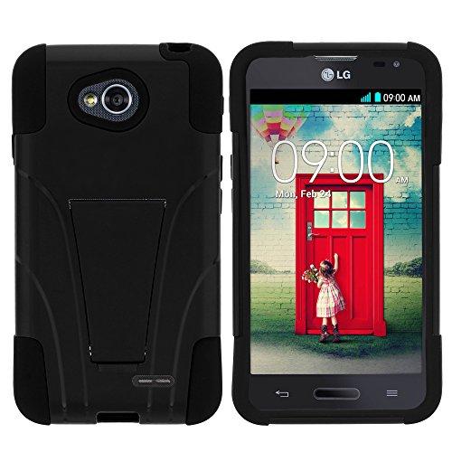 MINITURTLE Schutzhülle für LG Optimus L70 MS323, LG Optimus Exceed 2 VS450PP, LG Realm LS620, LG Ultimate 2 L41C (Metro PCS, Verizon, Boost Mobile) inkl. Displayschutzfolie und Eingabestift, schwarz