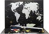 Schwarze Rubbel Weltkarte – Hochwertige Qualität – Rubbelweltkarte Deluxe Edition - Weltkarte zum frei rubbeln - Weltkarte zum freirubbeln - Rubbelkarte (Silver)