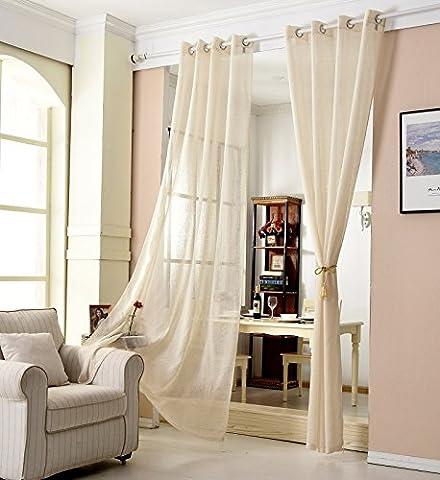 Woltu® # 631, rideau transparent Oeillets Aspect Lin, rideau Stores Rideau à ?illets Voile écharpe pour fenêtre rideau décoratif pour le salon chambre d'enfant chambre à coucher - 140x225 cm - sable
