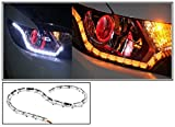#6: 2 X Flexible White DRL with Running Amber / Orange Turn Indicator Bulbs, Bright Light - For all Cars