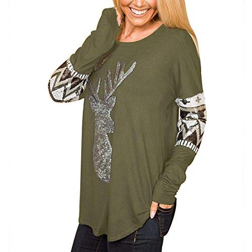 LRUD Damen Langarmshirts Pailletten Deer Design Beiläufig Lose Rundhalsausschnitt Sweatshirt Blusen T-Shirt Grün