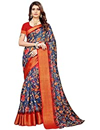 Akhilam Women's Printed Linen Saree with Unstitched Blouse Piece (Blue_BGBLT80006)