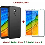 Like It Grab It [Full Coverage] 4 Cut Rubberised Matte Hard Case All Sides Protection 360 Degree Sleek Back Cover For Xiaomi Redmi Note 5 / Mi Note 5 / Redmi Note5 + 2.5D Curved 3D Edge To Edge Full Screen Tempered Glass Mobile Screen Protector (Transpare