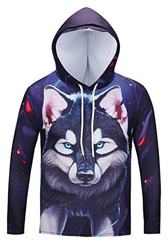 Pizoff Unisex Hip Hop cosplay Sweatshirt Maskerade Kapuzenpullover mit Bunt 3D wolf Digital - Malen Gesicht Halloween Weiß