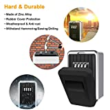 MoFut Key Safe with 4-Digit Combination, Key Lock Box Wall Mounted Outdoor Weatherproof for Spare Keys and Access Cards, Heavy Duty Key Box for Home, Garage, Office and School (With Waterproof Cover)