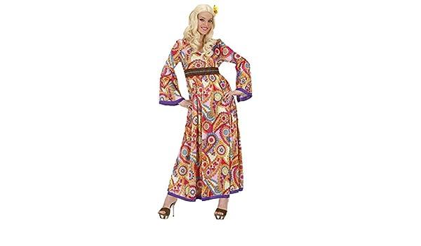 f9811d6d283 NET TOYS Déguisement Hippie année 70 Robe à Fleurs S 36 38 Robe années 70  Flower Power Robe Baba Cool Fleurie déguisement Beatnik Tunique bariolée  Femme ...