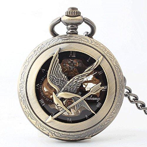 QB-Pocket watches Halbautomatische mechanische Taschenuhr Hunger Games Mocking Bird Taschenuhr Spiegel Hohl organische Glas Flip Taschenuhr