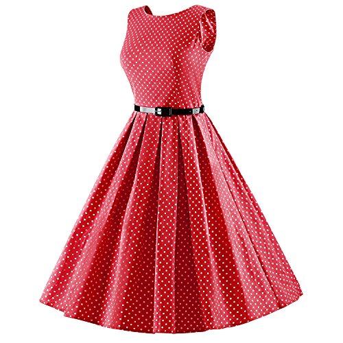 iLover Vintage Rockabilly gestreiften Kleid Hepburn Stil Partykleid Cocktailkleid 50er Jahr Abendkleid RedDots
