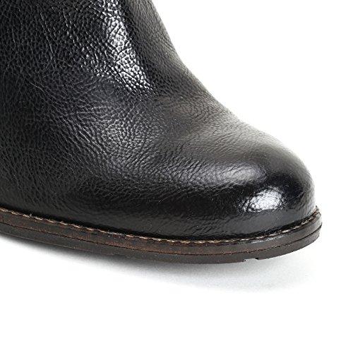 ALESYA by Scarpe&Scarpe - Bottines hautes avec cuir traité, en Cuir, à Talons 8 cm Noir