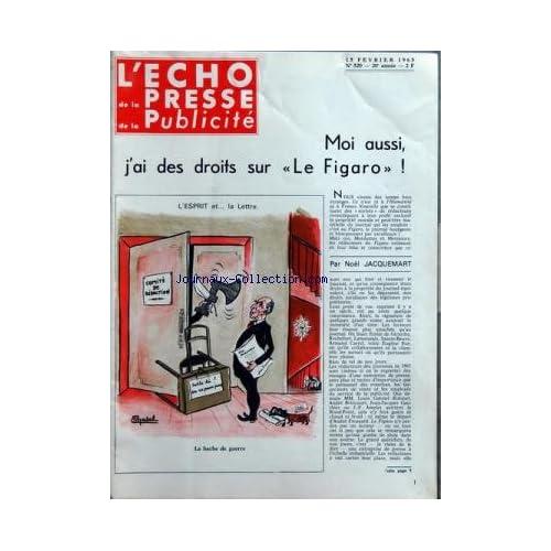 ECHO DE LA PRESSE DE LA PUBLICITE ET DES RELATIONS PUBLIQUES (L') [No 520] du 15/02/1965