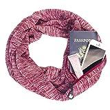 iBàste Unisex Schal Damen Schal mit Tasche Reise Schal mit versteckter Reißverschlusstasche Winter Warm O Ring Schals Bib Enthält Zipper-Tasche Gute Geschenke