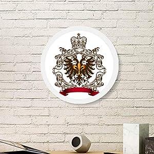 Doppelköpfiger Adler Emblem Europa Rund Weiß Wandbilderrahmen Holz Home Decor, m