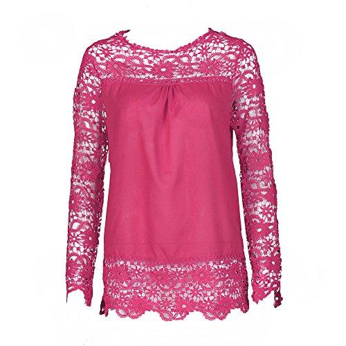 MERICAL Fashion Damen Langarm Shirt Casual Spitzenbluse Lose Baumwolle Tops T-Shirt(EU:44/CN:XXXL,Heiß rot)