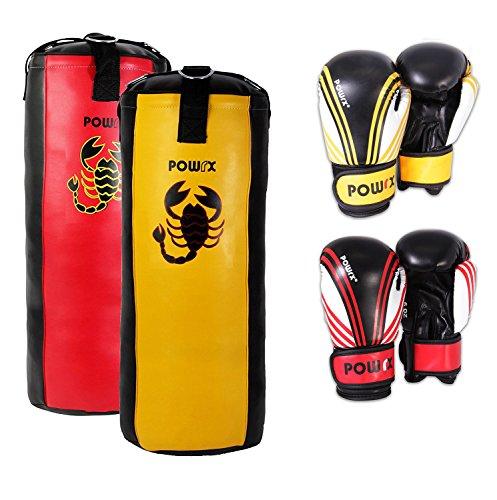 Boxset für Kinder/Jugendliche, Boxhandschuhe + Boxsack - ab 6 ((2.5 Fuß) (gelb/schwarz))