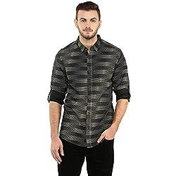 Spykar Mens Black Retro fit Mid Rise Casual Shirts (Large)
