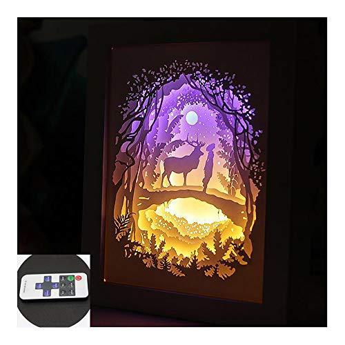 HHCC 3D Fotorahmen Licht Papier schnitzen Lampe 8 dynamische Effekte 10 Stufen Dimmen Anime handgefertigten Kristall/Massivholzrahmen LED Tischleuchte,Woodenframe Dolphin Papier