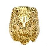 BOBIJOO Jewelry - El Anillo de sellar el Hombre de Egipto con Cabeza de León Faraón Poder Chapado en Oro de Acero - 24 (11 US), Dorado - Acero Inoxidable 316