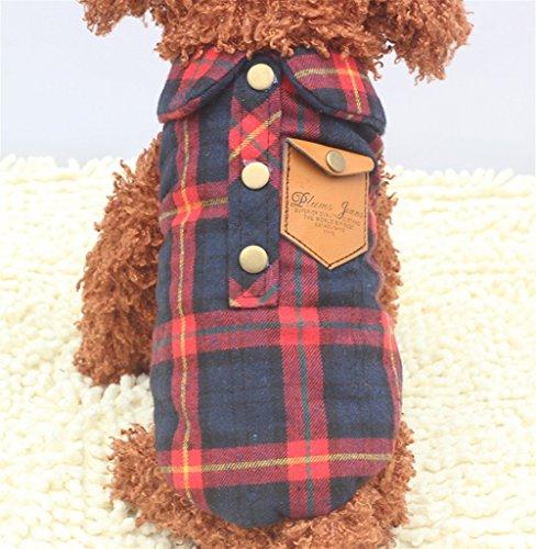ShireyStore Katzen Kleidung Haustierzubehör Pet Clothes Lattice Weste Katze und Hund Kleidung Rot Größe 10