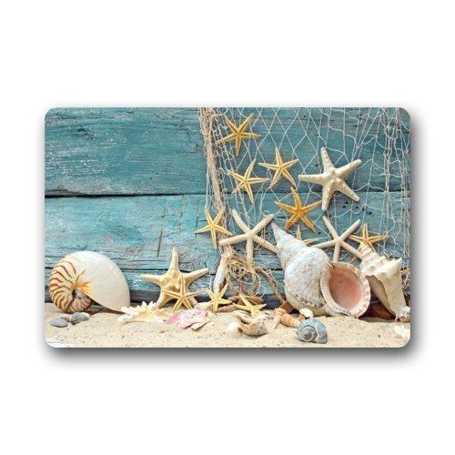 """DaringOne Muscheln Seestern Holz am Strand Wohnzimmer Fußmatte Küche Teppich Fußmatte Veranda Teppiche Diele Matte 23.6\"""" x 15.7\"""" Sea Shell"""