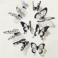 GOMYIE 18Pcs Butterfly Wall Decals 3D Butterflies Decor for Wall Removable Mural Stickers Home Decoration Nursery Bedroom Decor(Black and White)